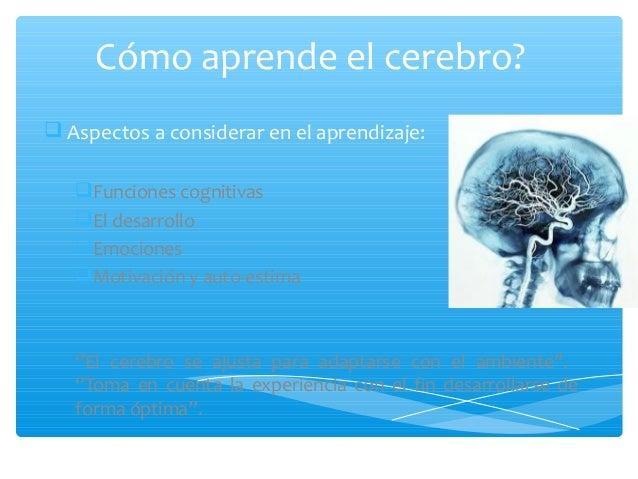 Cómo aprende el cerebro? Aspectos a considerar en el aprendizaje:Funciones cognitivasEl desarrolloEmocionesMotivación...