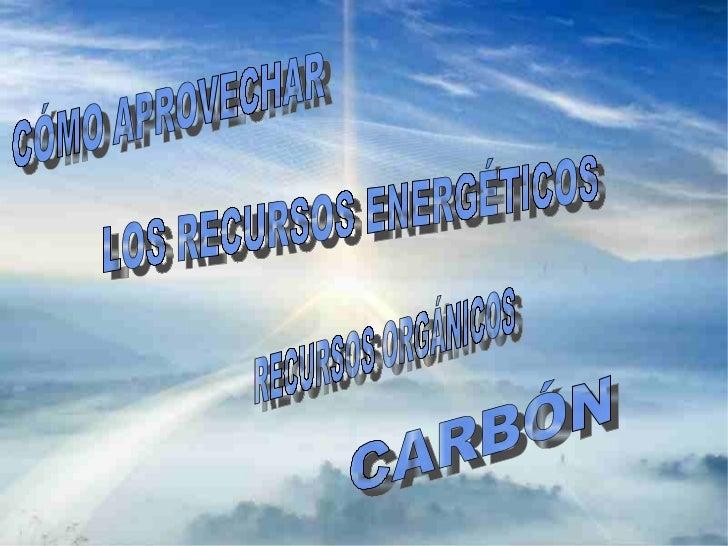 CÓMO APROVECHAR LOS RECURSOS ENERGÉTICOS         RECURSOS ORGÁNICOS:         4.CONCEPTO         2. TIPOS