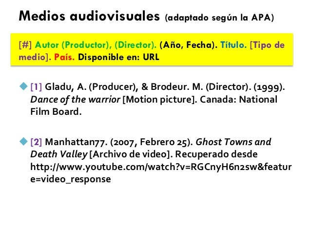 Medios audiovisuales (adaptado según la APA) [#] Autor (Productor), (Director). (Año, Fecha). Título. [Tipo de medio]. Paí...