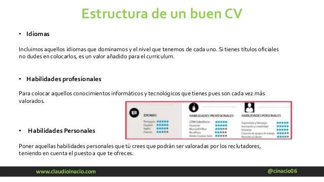 @cinacio06www.claudioinacio.com Estructura de un buen CV • Idiomas Incluimos aquellos idiomas que dominamos y el nivel que...