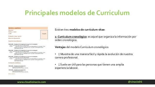 @cinacio06www.claudioinacio.com Principales modelos de Curriculum Existen tres modelos de currículum vitae: 1- Curriculum ...