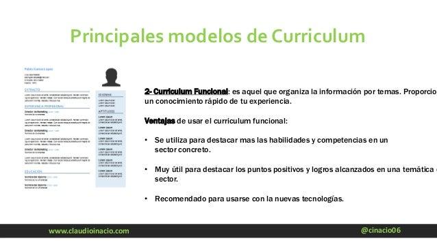 @cinacio06www.claudioinacio.com Principales modelos de Curriculum 2- Curriculum Funcional: es aquel que organiza la inform...