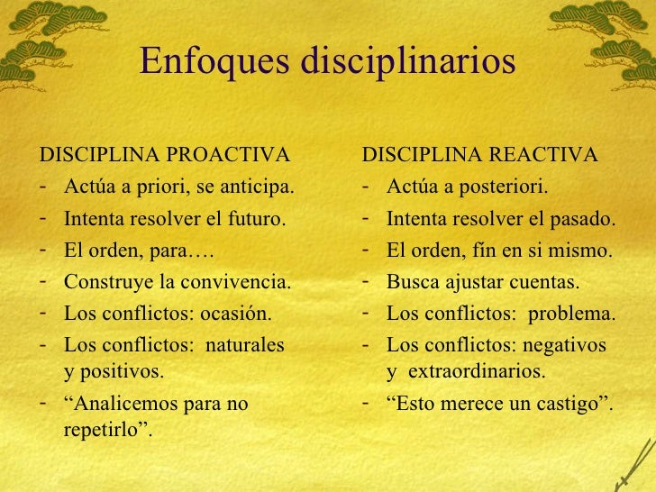 Enfoques disciplinarios <ul><li>DISCIPLINA PROACTIVA </li></ul><ul><li>Act úa a priori, se anticipa. </li></ul><ul><li>Int...