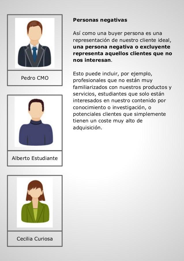 Personas negativas Así como una buyer persona es una representación de nuestro cliente ideal, una persona negativa o exclu...