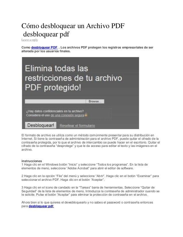 Por qu te cuento c mo desproteger archivos PDF