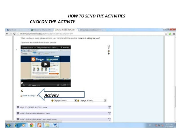 HOW TO SEND THE ACTIVITIESCLICK ON THE ACTIVITY      Activity