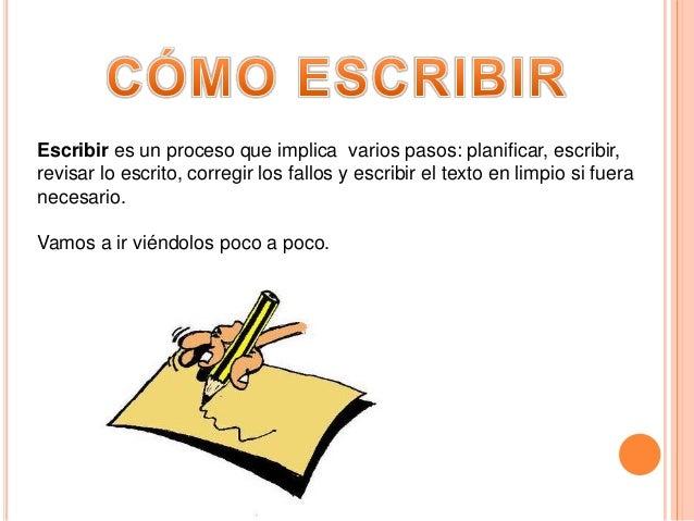 Escribir es un proceso que implica varios pasos: planificar, escribir,revisar lo escrito, corregir los fallos y escribir e...