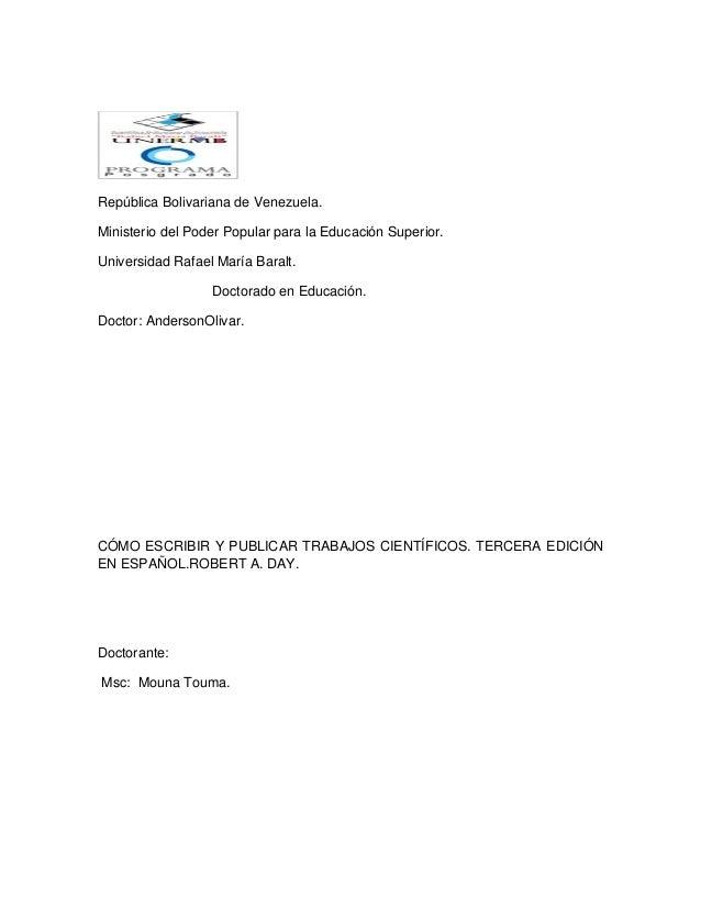 República Bolivariana de Venezuela. Ministerio del Poder Popular para la Educación Superior. Universidad Rafael María Bara...