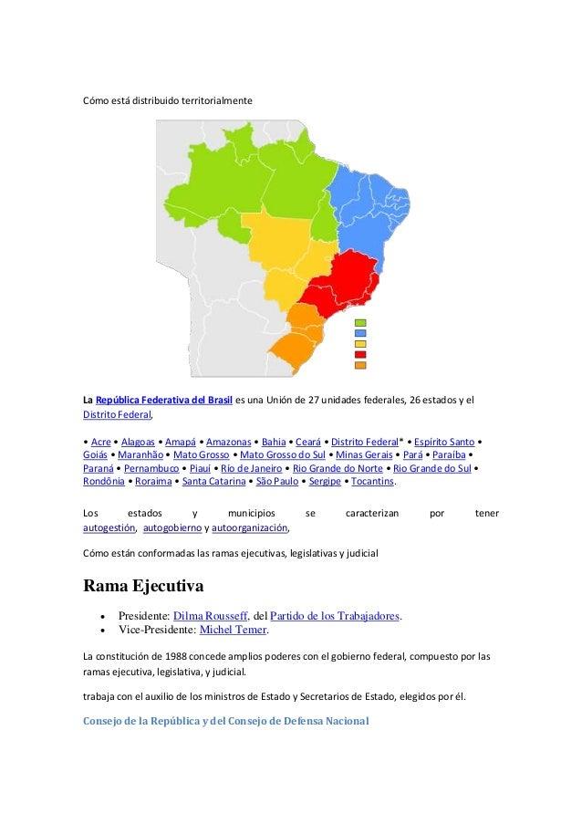 Cómo está distribuido territorialmente La República Federativa del Brasil es una Unión de 27 unidades federales, 26 estado...