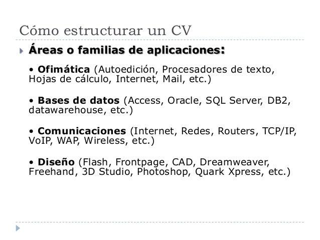 Cómo estructurar un CV  Áreas o familias de aplicaciones: • Ofimática (Autoedición, Procesadores de texto, Hojas de cálcu...
