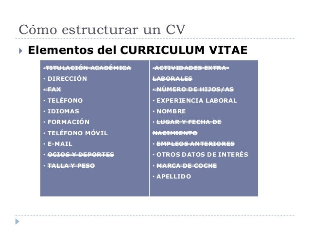 Cómo estructurar un CV  Elementos del CURRICULUM VITAE •TITULACIÓN ACADÉMICA • DIRECCIÓN • FAX • TELÉFONO • IDIOMAS • FOR...
