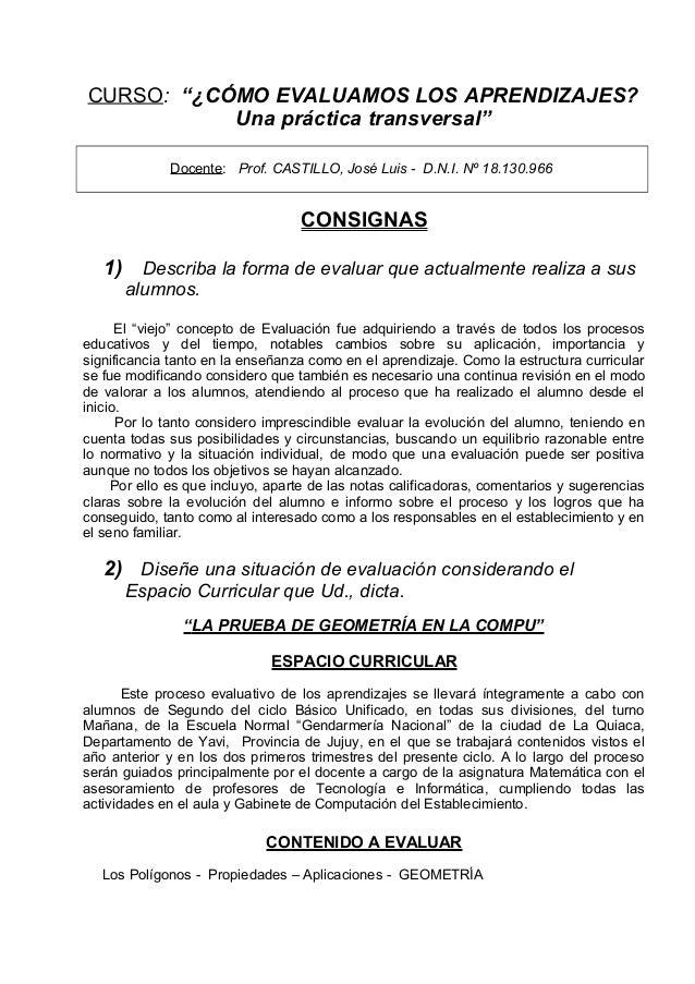 """CURSO: """"¿CÓMO EVALUAMOS LOS APRENDIZAJES?           Una práctica transversal""""             Docente: Prof. CASTILLO, José Lu..."""