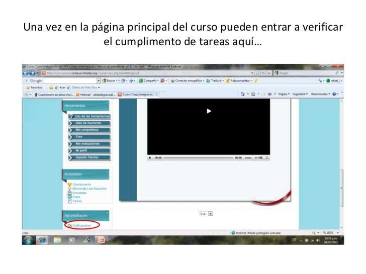 Una vez en la página principal del curso pueden entrar a verificar el cumplimento de tareas aquí…<br />