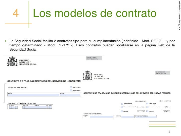 C mo hacer el contrato de trabajo a un empleado de hogar Contrato de trabajo indefinido servicio hogar familiar
