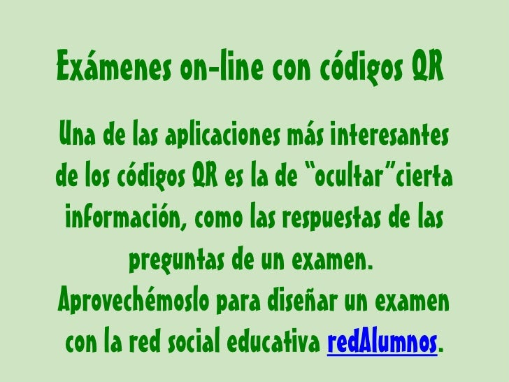 Cómo hacer exámenes en redAlumnos con códigos qr Slide 2