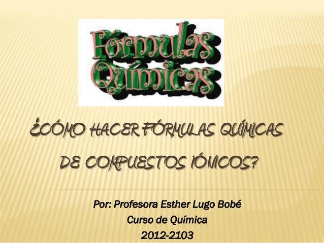¿CÓMO HACER FÓRMULAS QUÍMICAS   DE COMPUESTOS IÓNICOS?       Por: Profesora Esther Lugo Bobé               Curso de Químic...