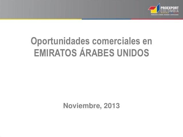 Oportunidades comerciales en EMIRATOS ÁRABES UNIDOS  Noviembre, 2013