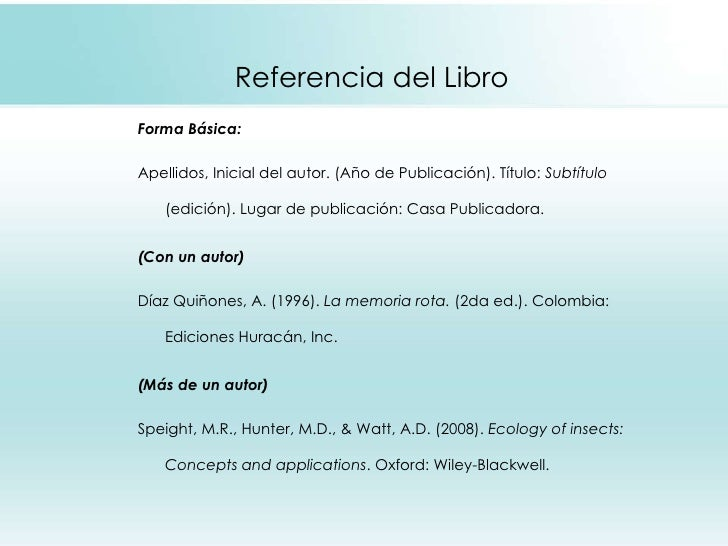 Referencia del Libro <ul><li>Forma Básica: </li></ul><ul><li>Apellidos, Inicial del autor. (Año de Publicación). Título:  ...