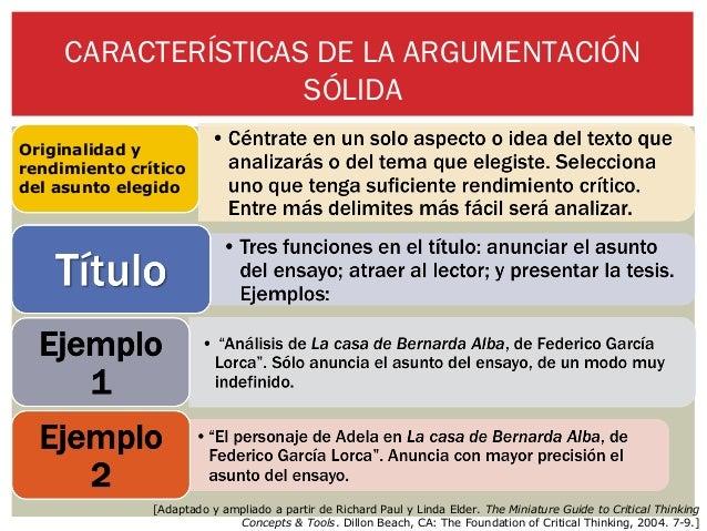 CARACTERÍSTICAS DE LA ARGUMENTACIÓN                    SÓLIDAOriginalidad yrendimiento críticodel asunto elegido          ...