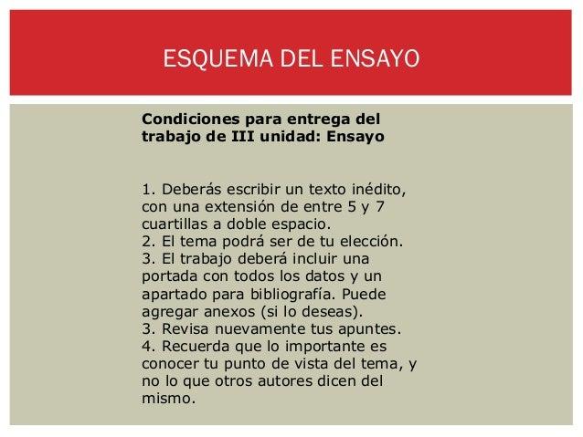 ESQUEMA DEL ENSAYOCondiciones para entrega deltrabajo de III unidad: Ensayo1. Deberás escribir un texto inédito,con una ex...