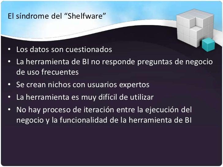 """El síndrome del """"Shelfware""""• Los datos son cuestionados• La herramienta de BI no responde preguntas de negocio  de uso fre..."""