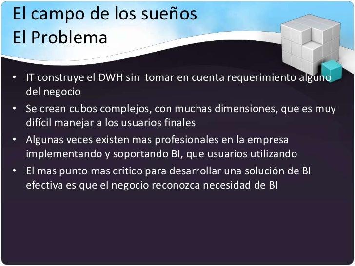 El campo de los sueñosEl Problema• IT construye el DWH sin tomar en cuenta requerimiento alguno  del negocio• Se crean cub...