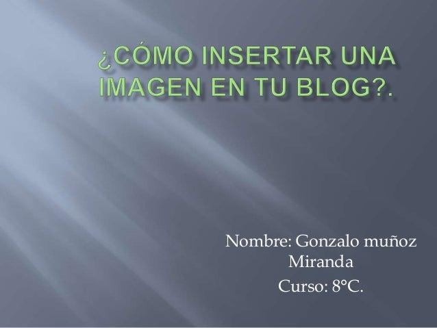 Nombre: Gonzalo muñoz      Miranda     Curso: 8°C.