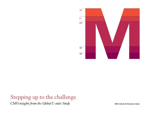 16% 9% 50% 12% 13% IBM Institute for Business Value Stepping up to the challenge CMO insights from the Global C-suite Study