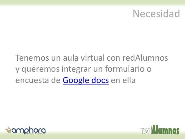 Cómo integrar google docs en redAlumnos Slide 2