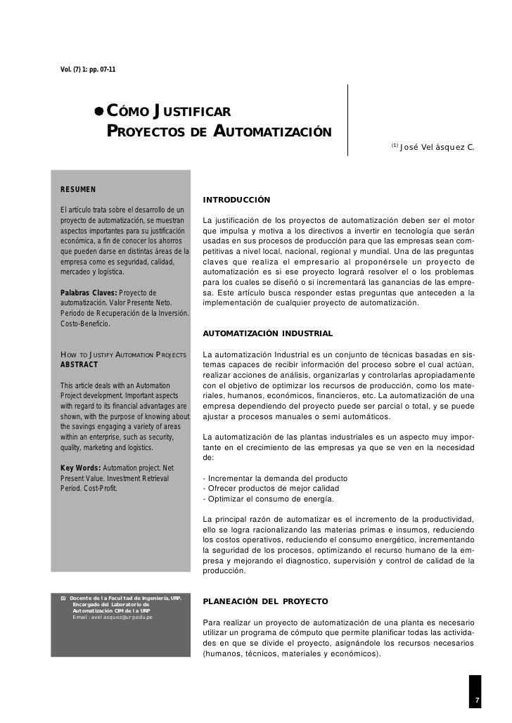 Vol. (7) 1: pp. 07-11                 CÓMO JUSTIFICAR                 PROYECTOS DE AUTOMATIZACIÓN                         ...
