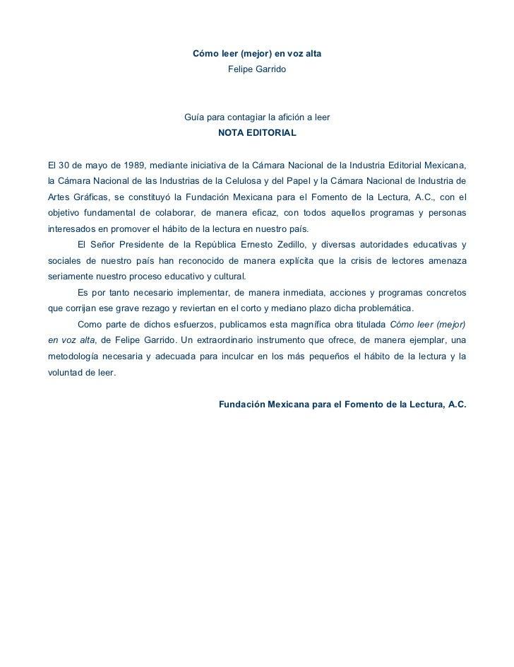 Cómo leer (mejor) en voz alta                                            Felipe Garrido                                 Gu...