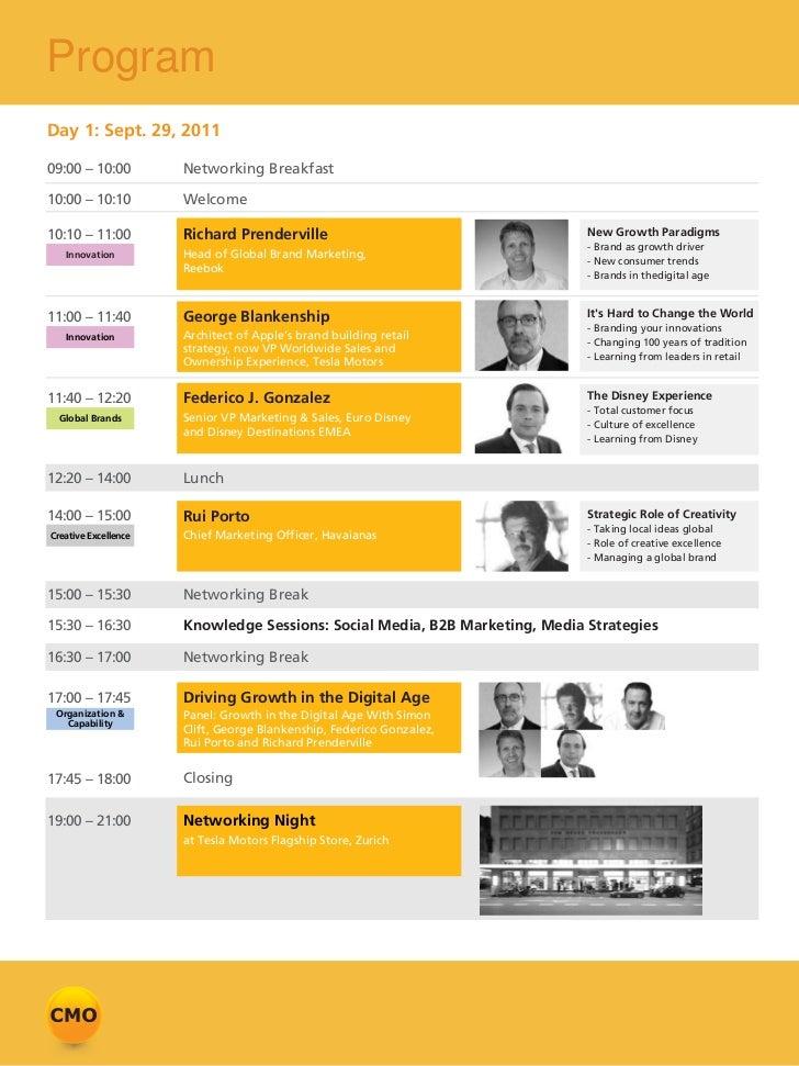 ProgramDay 1: Sept. 29, 201109:00 – 10:00         Networking Breakfast10:00 – 10:10         Welcome10:10 – 11:00         R...