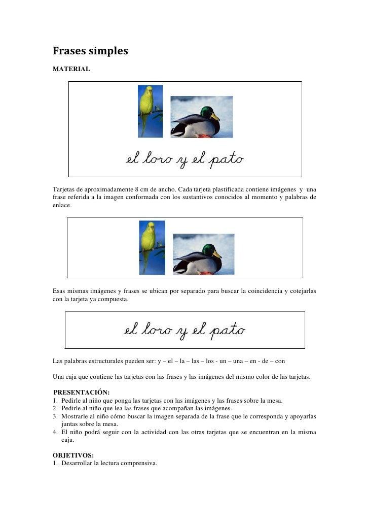 Frasessimples MATERIAL     Tarjetas de aproximadamente 8 cm de ancho. Cada tarjeta plastificada contiene imágenes y una ...