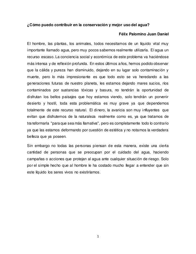1 ¿Cómo puedo contribuir en la conservación y mejor uso del agua? Félix Palomino Juan Daniel El hombre, las plantas, los a...