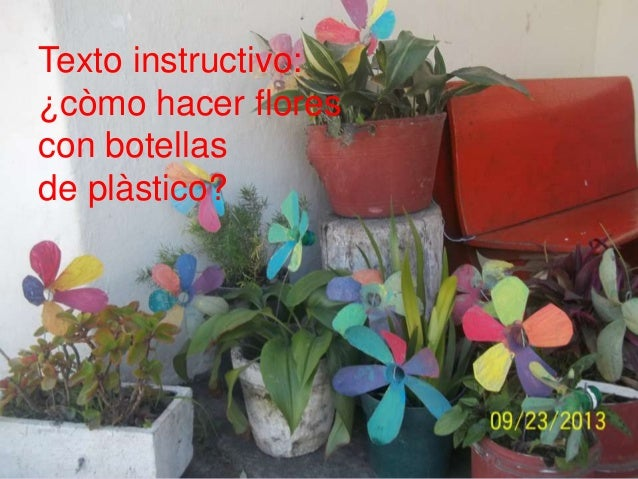 Texto instructivo: ¿còmo hacer flores con botellas de plàstico?