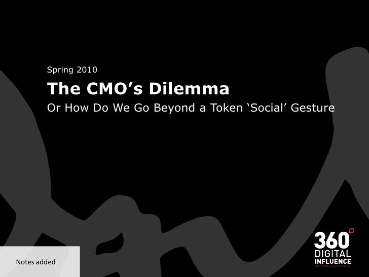 Spring 2010           The CMO's Dilemma          Or How Do We Go Beyond a Token 'Social' Gesture     Notes added