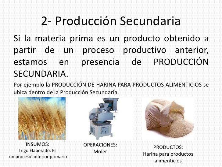 Clasificaci n de la producci n for Procesos de produccion de alimentos