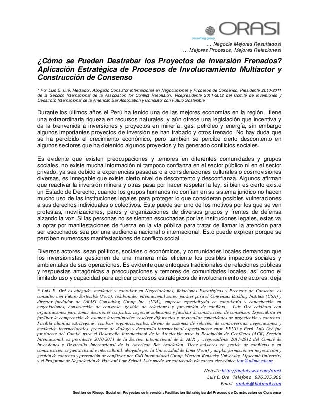 … Negocie Mejores Resultados! … Mejores Procesos, Mejores Relaciones! Website http://oreluis.wix.com/orasi Luis E. Ore Tel...