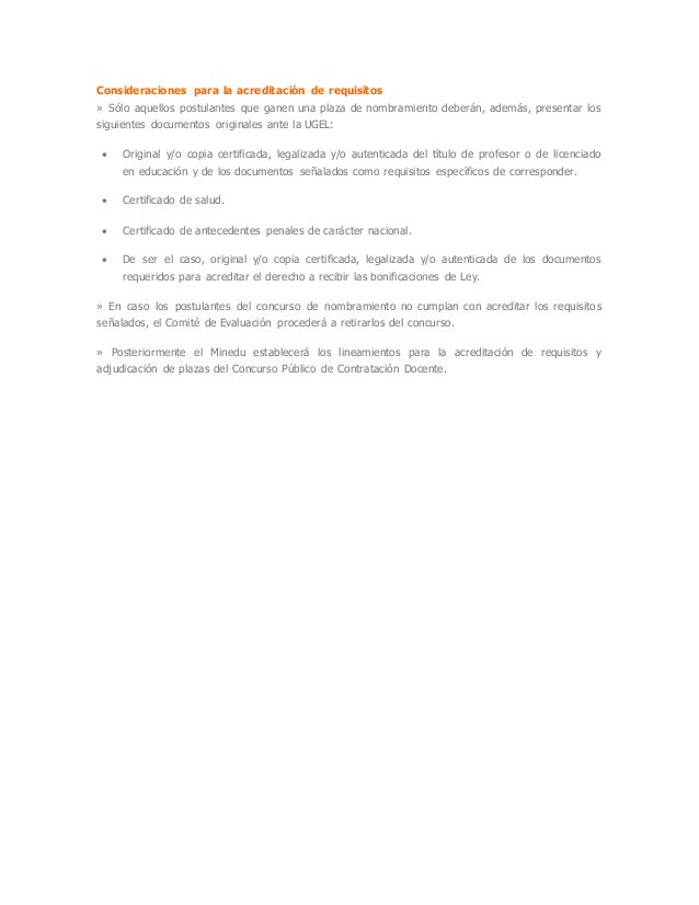Consideraciones para la acreditación de requisitos » Sólo aquellos postulantes que ganen una plaza de nombramiento deberán...