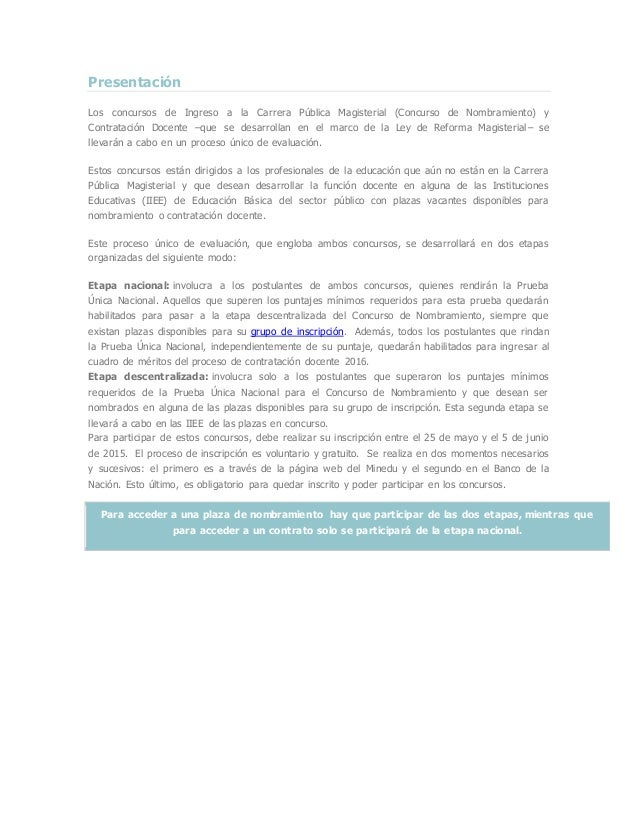 Presentación Los concursos de Ingreso a la Carrera Pública Magisterial (Concurso de Nombramiento) y Contratación Docente –...
