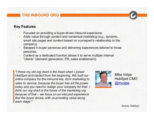 THE INBOUND ORG Key Features • Focused on providing a buyer-driven inbound experience. • Adds value through content and ...