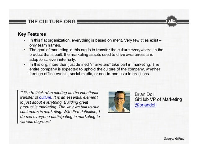 THE CULTURE ORG Key Features • In this flat organization, everything is based on merit. Very few titles exist – only team...