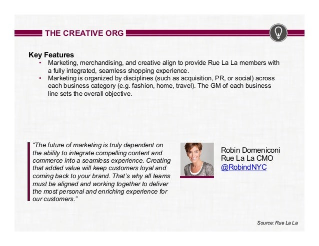 THE CREATIVE ORG Key Features • Marketing, merchandising, and creative align to provide Rue La La members with a fully in...