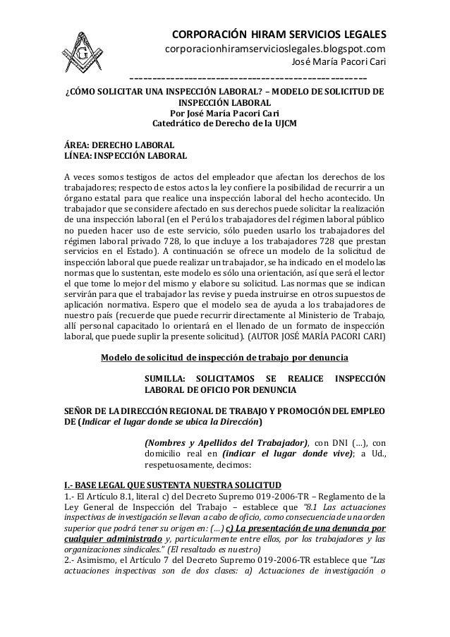 Artesanato Ideias De Natal ~ Cómo solicitar una inspección laboral u2013 modelo de