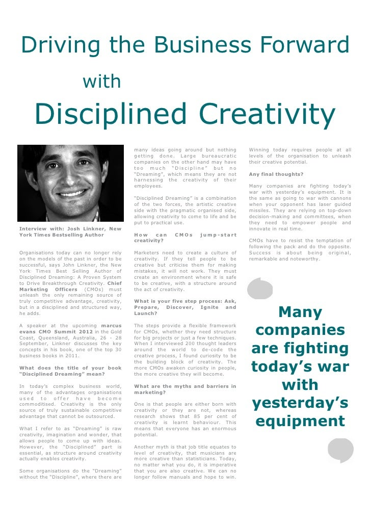Driving the Business Forward                         with     Disciplined Creativity                                      ...