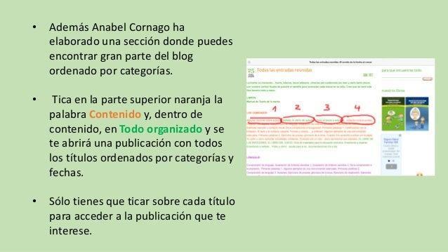 • Además Anabel Cornago ha elaborado una sección donde puedes encontrar gran parte del blog ordenado por categorías. • Tic...