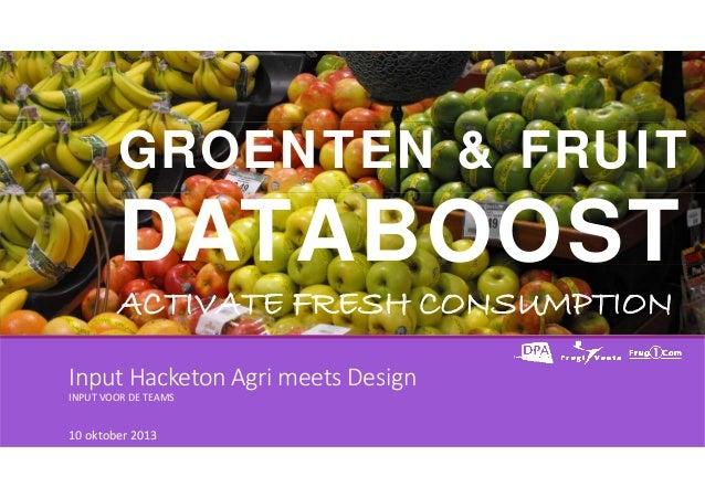 GROENTEN & FRUIT  DATABOOST ACTIVATE FRESH CONSUMPTION InputHacketon Agri meets Design INPUTVOORDETEAMS  10oktober20...