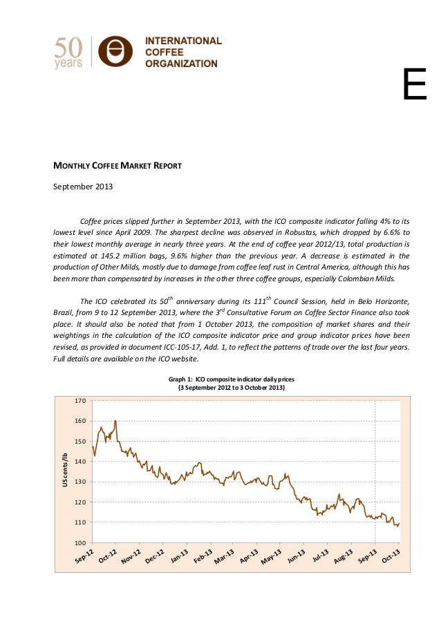 MONTHLY COFFEE MARKET REPORT    September 2013        Coffee prices slipped further in September 2013, w...