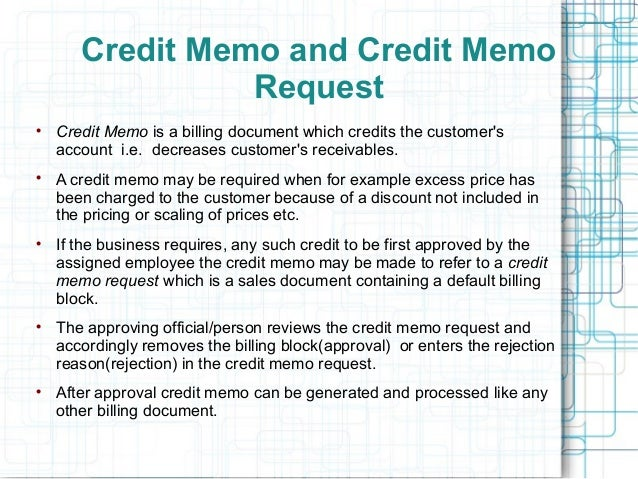 SAP SD Credit Memo Request Authorization – Credit Memo Sample