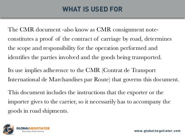 Cmr Consignment Note  Form And User Guide